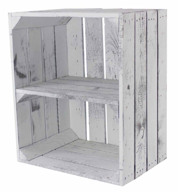 Shabby White Regalkiste aus Holz
