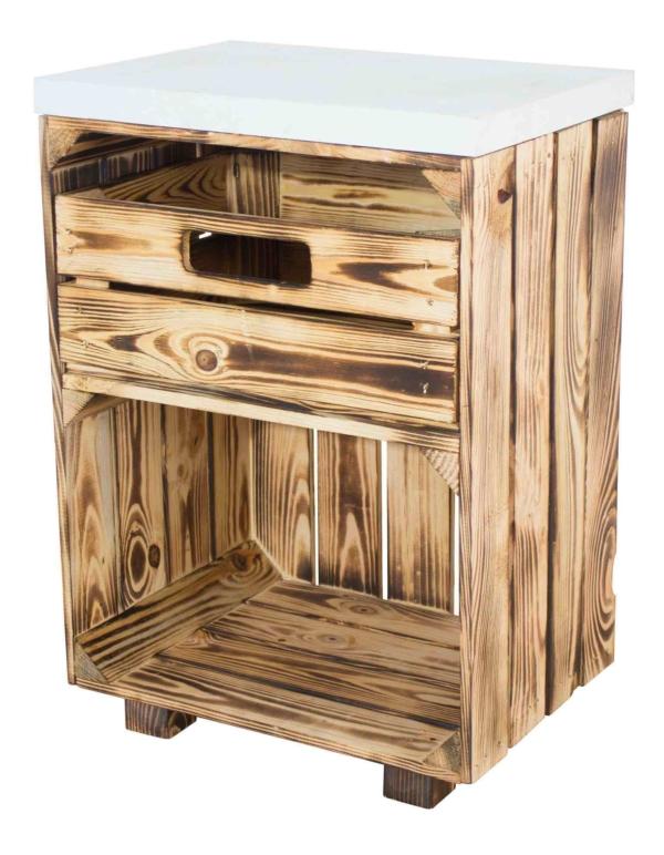 Holzkisten Nachttisch in geflammt weiß