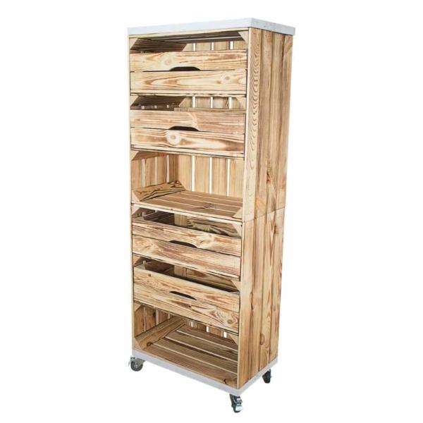 Holzkisten Regal in geflammt mit Schubladen und Bohlenbretter