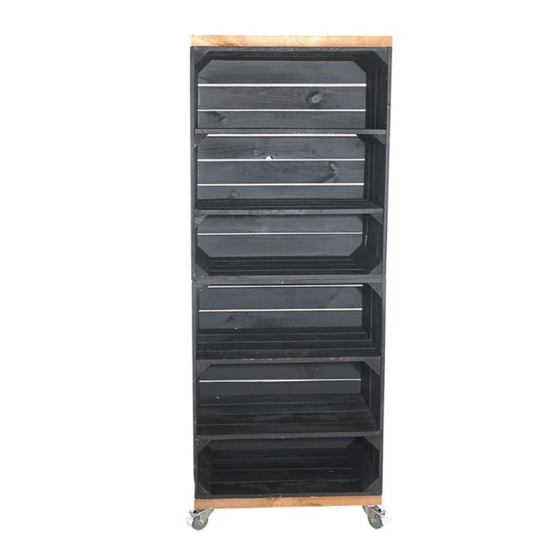 Holzkisten Regal in schwarz mit Bohlenbreter im Used Look