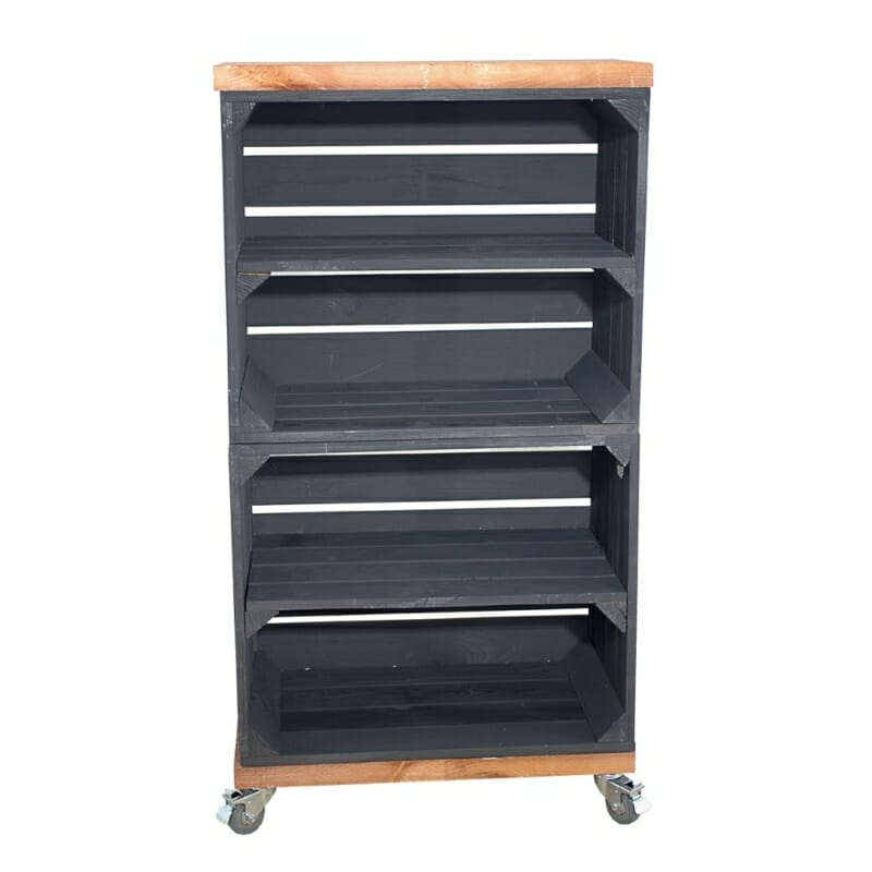 Holzkisten Regal in schwarz mit Bohlenbretter in used Optik