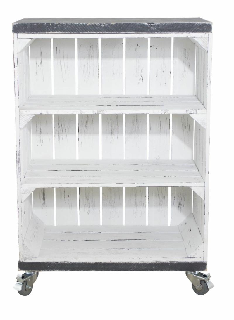 Holzkisten Regal in shabby weiß mit Bohlenbretter in vintage grau