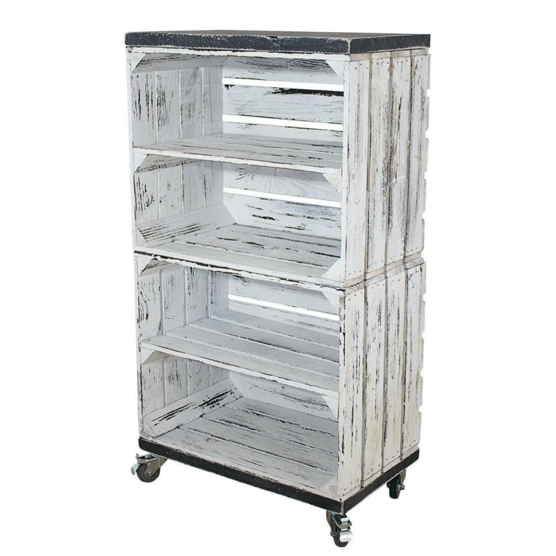 Holzkisten Regal in shabby weiß vintage grau