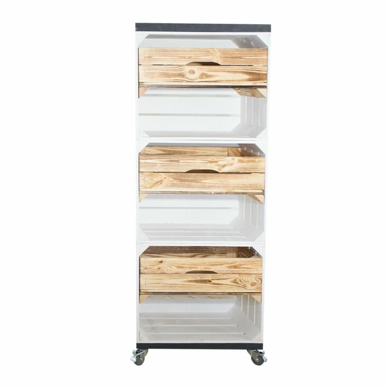 Holzkisten Regal in weiß mit Bohlenbretter in vintage grau und 3 Schubladen