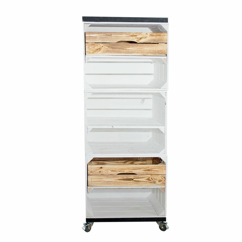 Holzkisten Regal in weiß mit Schubladen in geflammt