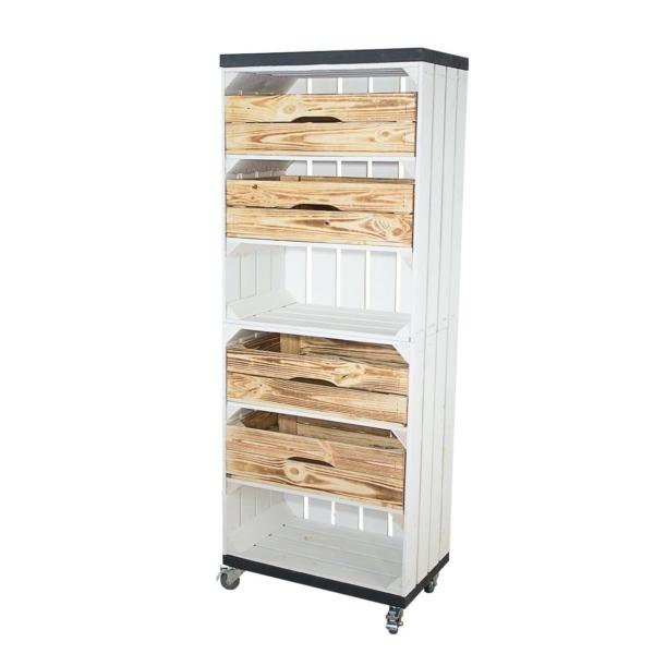 Holzkisten Regal in weiß mit Schubladen und Bohlenbrettern