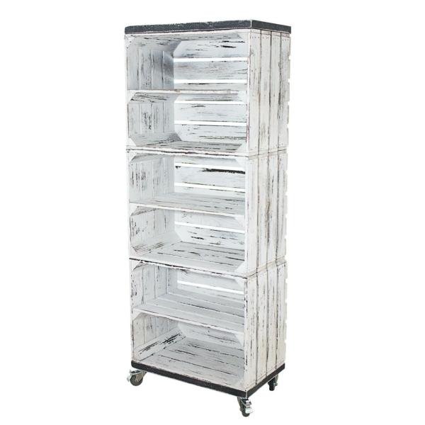 Shabby weißes Holzkisten Regal mit bohlenbretter in vintage grau